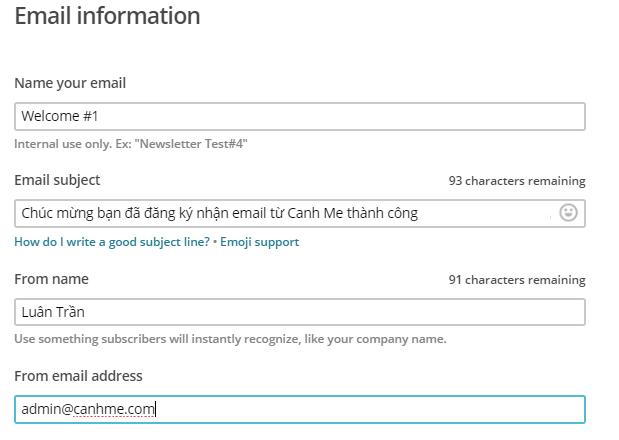 Edit email information