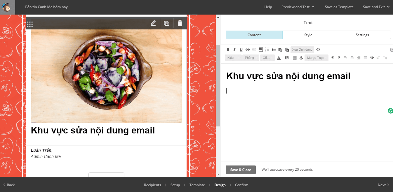 Noi dung chinh email