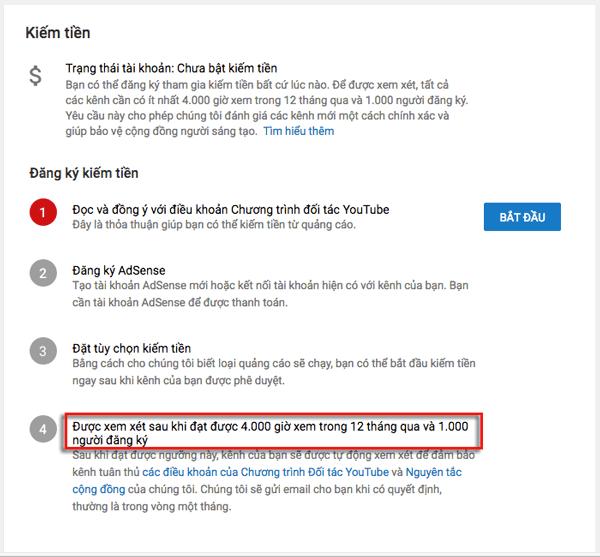 cách tạo tài khoản youtube kiếm tiền 2