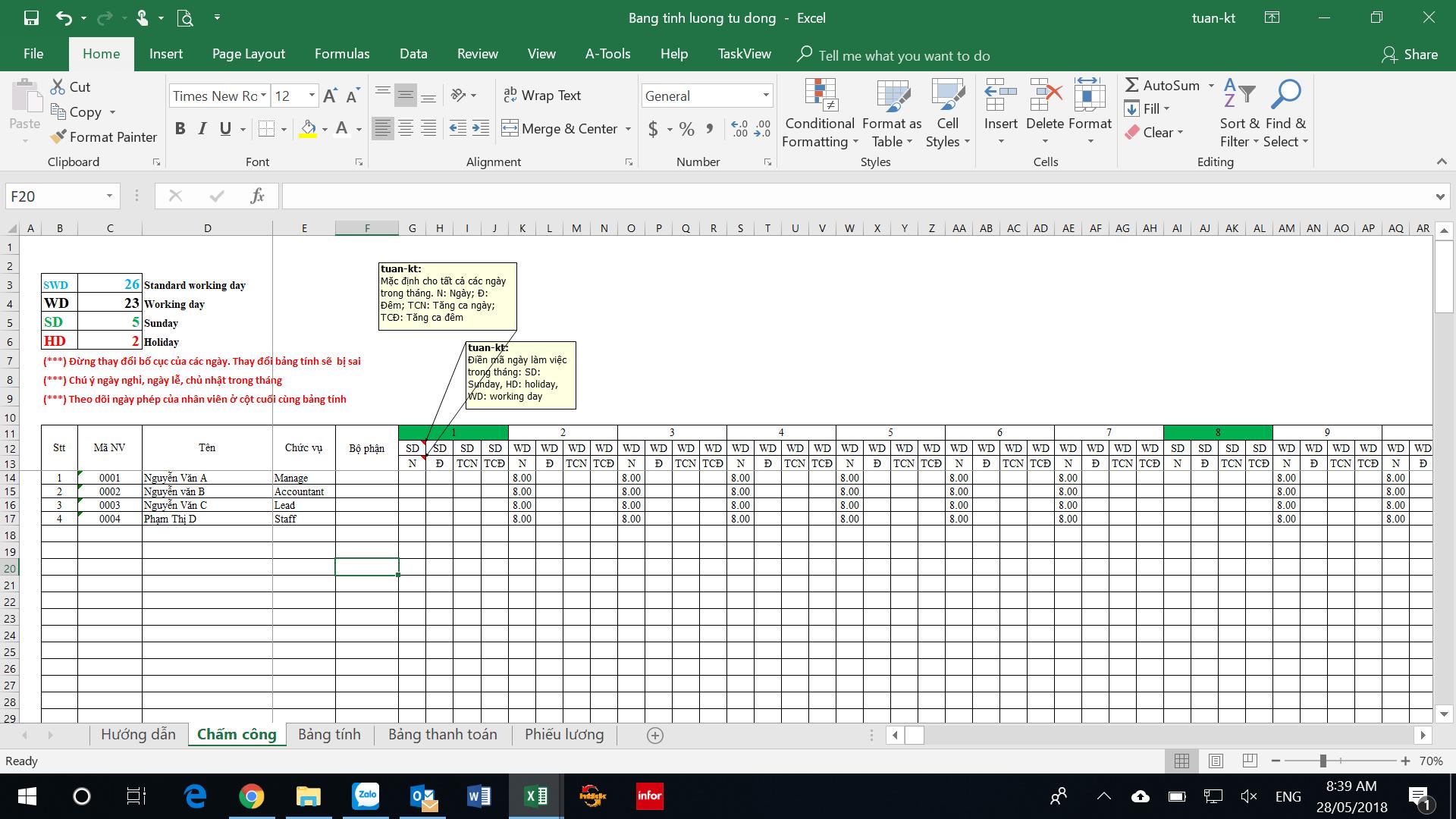 mẫu bảng lương nhân viên kinh doanh