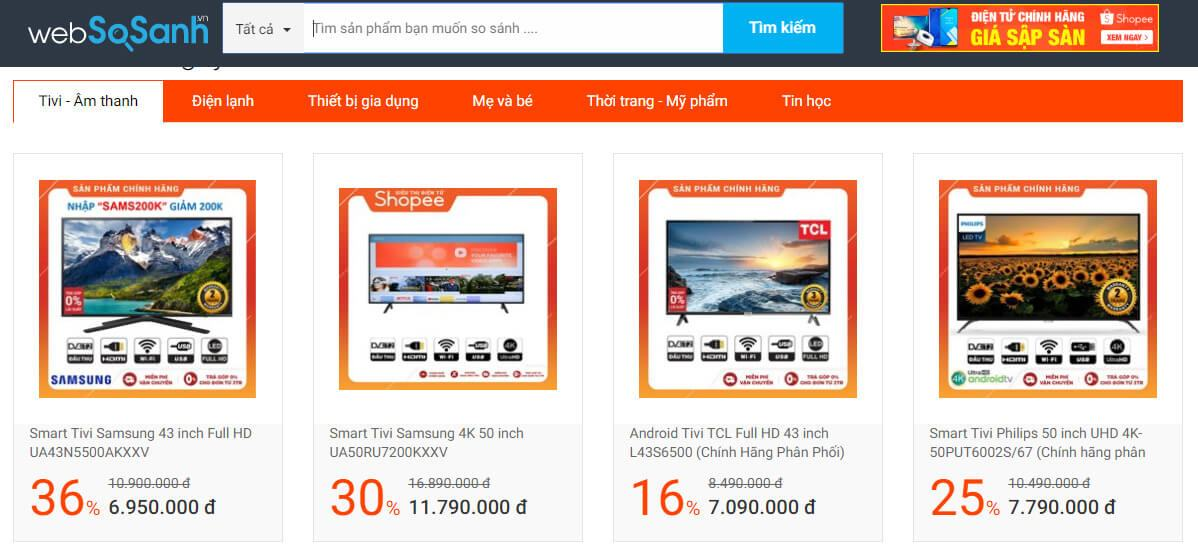 website so sánh sản phẩm